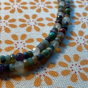 Boho beaded stone necklace
